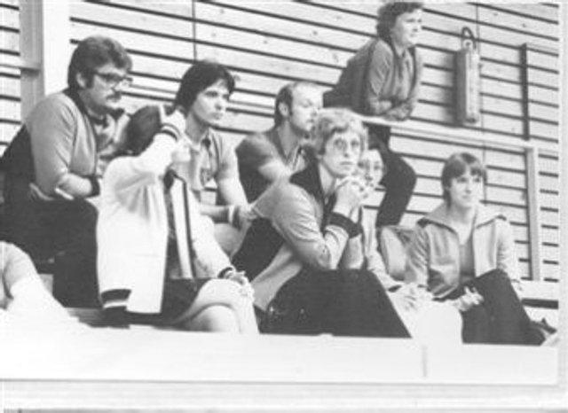 hinten sitzend von links - Horst Domke, Willi Kaiser, Wolfgang Stättel --- vorne sitzend von links - Mariola ..., Rosemarie Domke, Hyung-Re Kaiser, Brigitte Stättel
