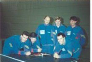 stehend von links - Wolfgang Stättel, Kersten Woltjen, Willi Kaiser --- hockend von links - Christian Scherf, Martin Pradella, Stephan Muscheites
