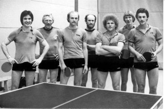 von links - Willi Kaiser, Heino Postera, Wolfgang Stättel, Rudi Pietsch, Hansi Grehl, Klaus-Dieter Paetz, Holger Fiedler